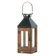 Lantern Candle Holders, Small Wooden Outdoor Candle Lantern Decor - Pine Wood - $28.93
