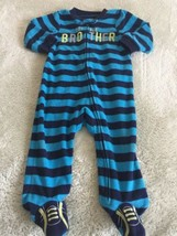 Child Of Mine Boys Blue Striped LITTLE BROTHER Long Fleece Pajamas 6-9 Months - $5.48