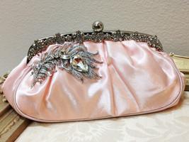 Bridal clutch, pink wedding clutch, Crystal clutch, vintage inspired eve... - $39.54