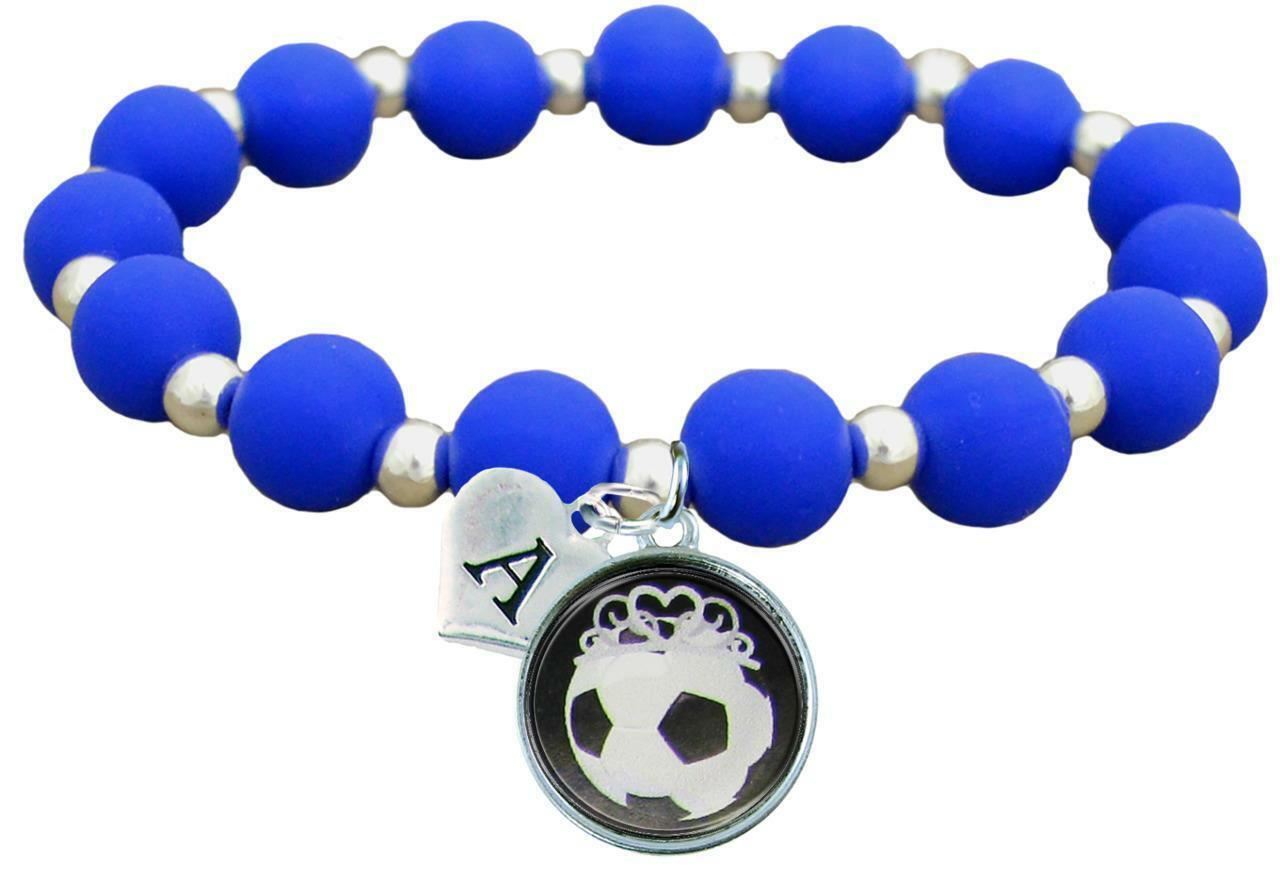 Primary image for Custom Soccer Princess Silicone Stretch Bracelet Choose Initial & Team Color