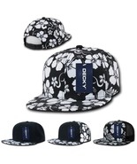 DECKY 6 Penal Black White Floral Hawaiian Snapback Retro Flat Bill Hat Cap - $6.99