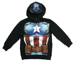MARVEL Little Boys' Captain America Full Zip Hoodie with Mask Black - $19.99