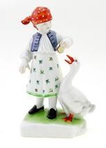 Hungarian Porcelain Herend Girl Figurine Feeding Goose - $142.07