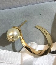 AUTHENTIC Christian Dior 2019 DIOR TRIBLES GOLD HOOP DOUBLE PEARL STAR Earrings  image 4