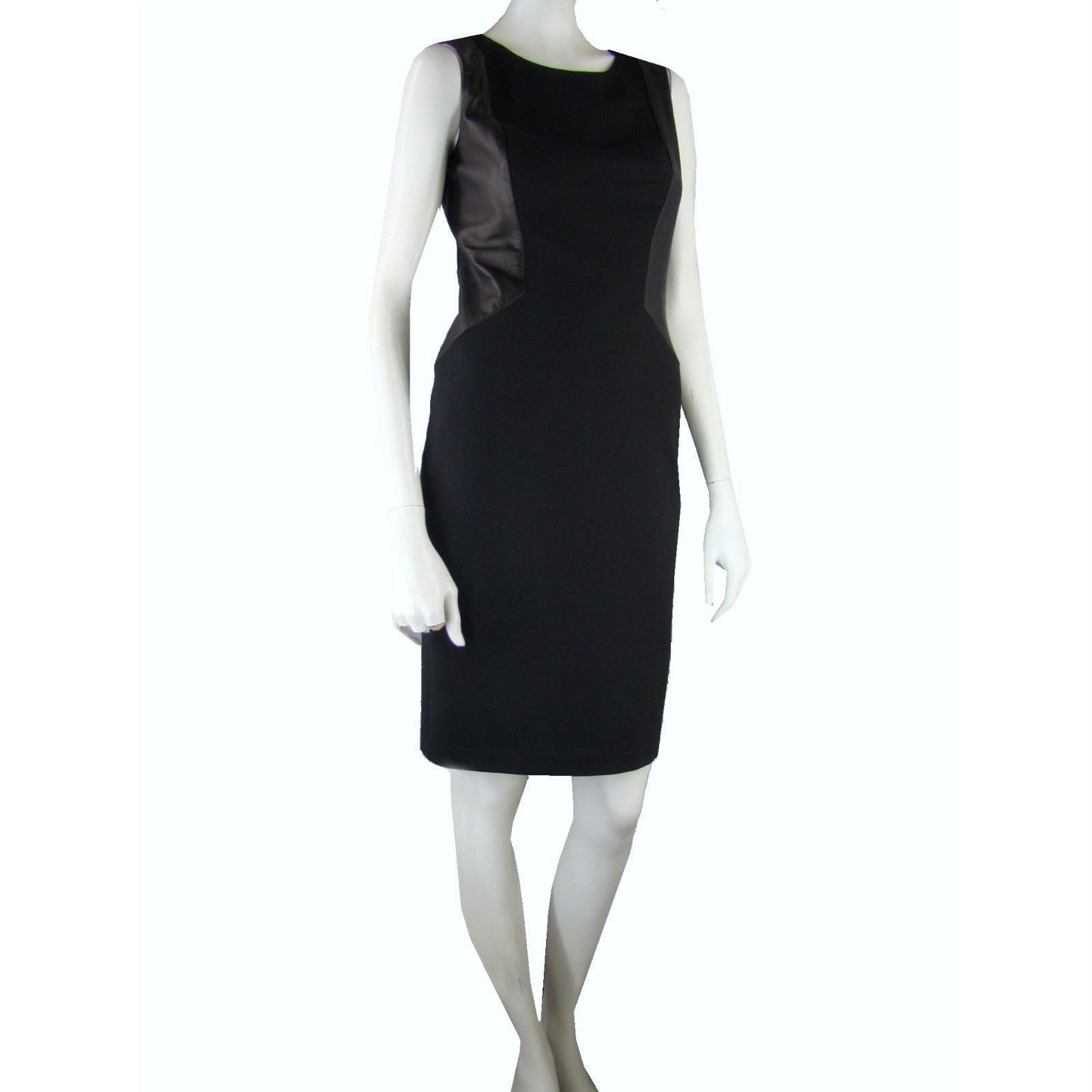 Primary image for HALSTON HERITAGE Stretch Rayon Sheath  Dress 6 Sleeveless Leather Panels Wiggle