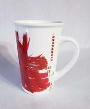 Starbucks 2014 Christmas Holiday Coffee Mug Cup Gold Red Starburst 12 fl oz - $9.77