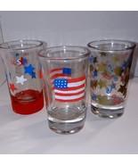 Patriotic Shot Glass Set Hand Painted Barware Glassware Shot Glass Painted - $10.00