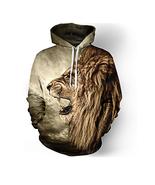 Men's hoodies sweatshirt men funny 3D Lion fashion - $27.00