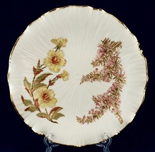 19th C Royal Worcester Decorative Cabinet Plate Blush Ivory Ruffled Rim Floral - $35.00