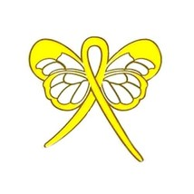 Yellow Awareness Ribbon Butterfly Pin Cancer Cause Support Inspirational New image 2