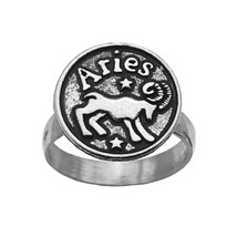Aries Ram Ring Real sterling silver 925 Round Zodiac Astrology Jewelry P... - $29.99