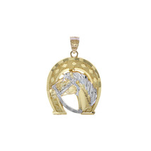 14K Two Tone Gold Horse And Horseshoe Lucky Charm - $256.41