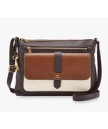 New Fossil Women Kinley Large Leather Crossbody Bag Neutral Multi Color - $115.59