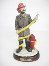 Emmitt Kelly Clown Fireman Porcelain Figurine on Wooden Base #29 from Fl... - $19.79
