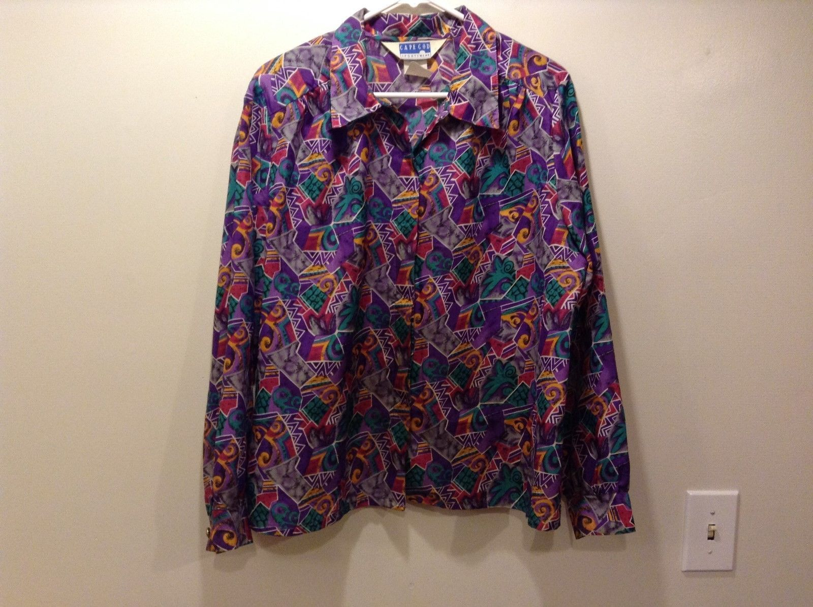 Cape Cod Sportswear Ladies Multicolor Lightweight Long Slv Collared Shirt Sz 18