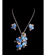 Vintage blue Rhinestone necklace Brooch earrings - iridescent sugar ston... - $165.00