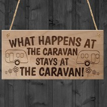 What Happens In The Caravan Stays In The Caravan Funny Plaque Wood Hangi... - $12.86