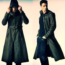 Winter Men Leather Coat Tailor Made Real Genuine Leather Trench Coat -US-61 - $237.50