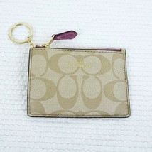 New COACH Mini Skinny ID Wallet Key Chain Signature Canvas Khaki/Leather... - $26.97