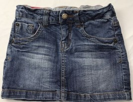 Zara Girls Blue Denim Skirt Jean Distressed Dark Wash Sz 4/5 - $36.37