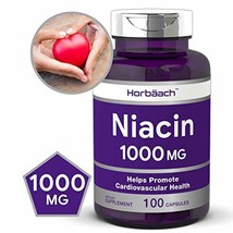 Niacin 1000mg 100 Capsules   Non-GMO, Gluten Free   Vitamin B3   by Horbaach image 1