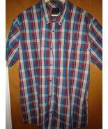 Fox Men's Button Up Shirt Blue and Burgundy - XXL - $15.00