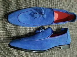 Handmade Men's Blue Slip Ons Tassel Dress/Formal Loafer Suede Shoes image 2