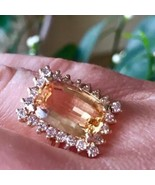 14k Golden precious Imperial Topaz & Diamond halo Ring - $5,055.90