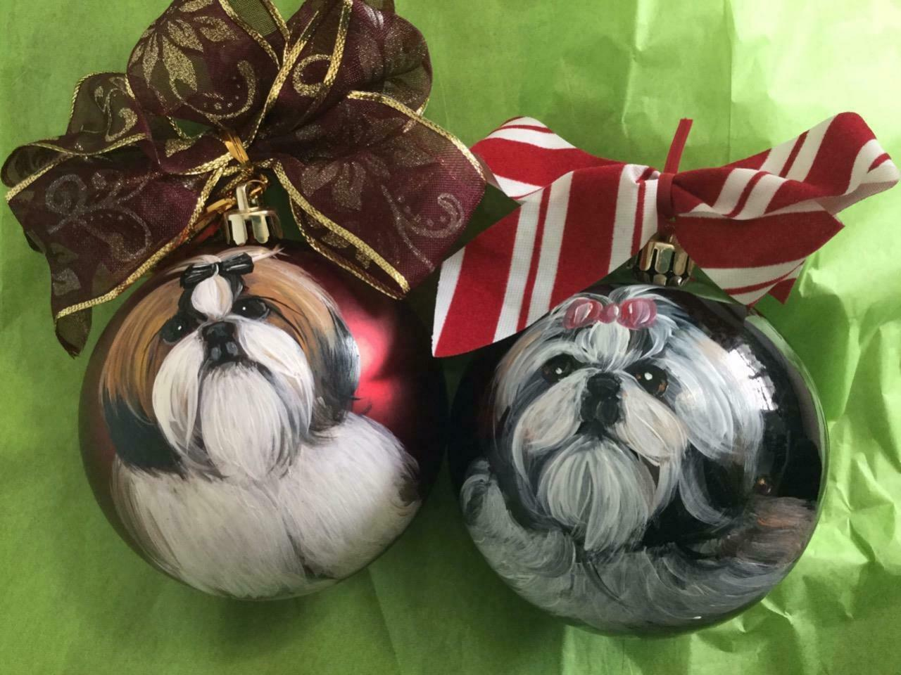Primary image for TWO SHIH TZU HAND PAINTED CHRISTMAS ORNAMENTS
