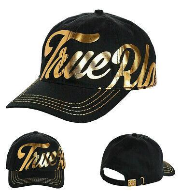 True Religion Men's Gold Metallic Script Print Strapback Baseball Hat TR2666T