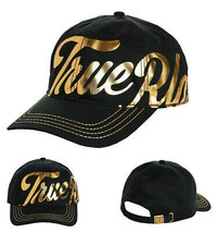 True Religion Men's Gold Metallic Script Print Strapback Baseball Hat TR2666T