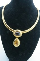 Monet Cab Pendant Necklace Amber Color Flexible Chain Gold Plated Oval T... - $32.66