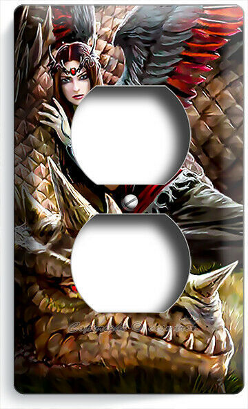 FANTASY ANGEL GIRL RED FEATHER WINGS DRAGON OUTLET WALL PLATES BEDROOM ART DECOR