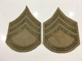Original Wwii U.S. Army Staff Serg EAN T Chevrons Shirt Tan Od Rayon On Cotton - $17.72