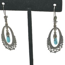 Vtg Faux Turquoise Dangle Silver Tone Earrings southwestern - $13.98
