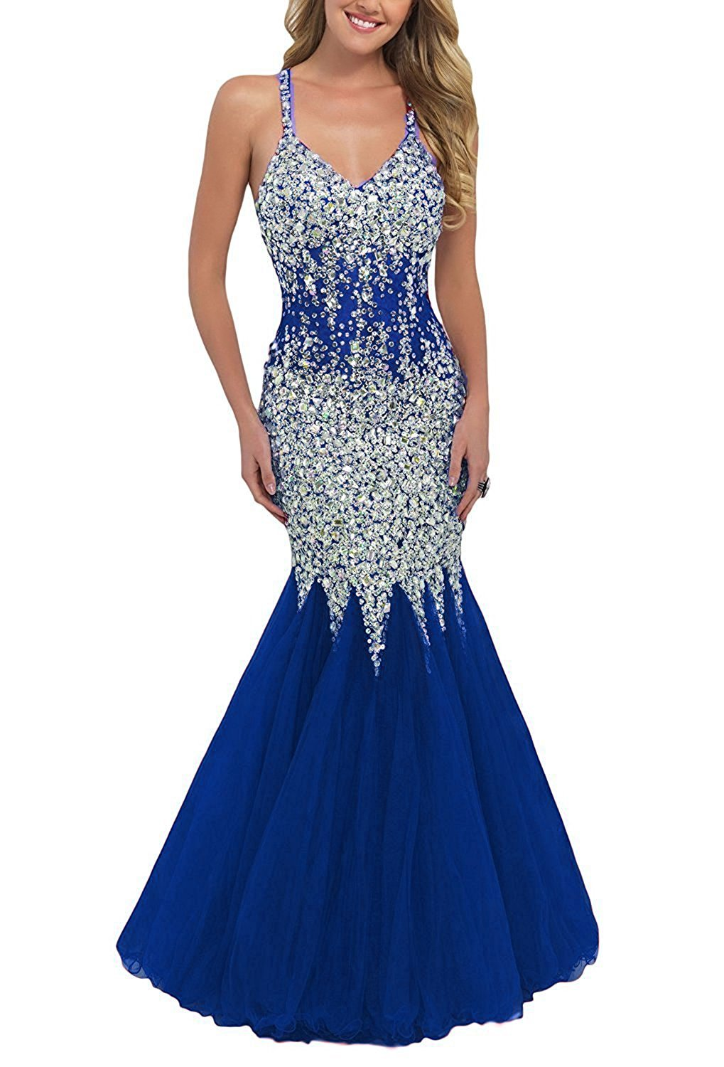 Primary image for Women's V-neck Beaded Mermaid Prom Dresses 2018 Cross Back Mermaid Evening Gowns