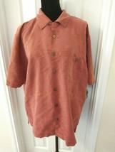 Joe Marlin Size XL Button Shirt Hawaiian Pink Orange Embellished Trees - $11.14