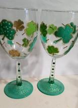 Festive Shamrock Painted Wine Glass Set Holiday Shamrocks Barware Painte... - $14.00