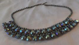 Vintage, Necklace, 1950's, Aurora Borealis, Blue set in Rhinestones, Stunning. - $46.53