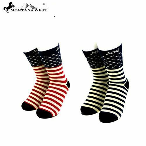 American Pride Socks TWO pairs! Adult NEW! by Montana West