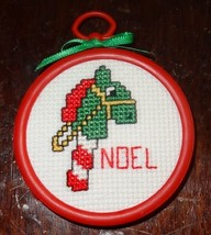 """Hobby Horse Christmas Ornament Finished Cross Stitched green """"Noel"""" Hand... - $10.51"""