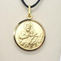 18K YELLOW GOLD SCAPULAR OUR LADY OF MOUNT CARMEL SACRED HEART MEDAL 15mm CARMEN image 6