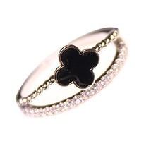 Wild Fashion Unique Ladies Accessories Concise Style Clover Diamond Ring Simple image 2