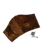 Face Mask Dark Brown Leaves Fall Cotton Washable Facemask Handmade USA - $13.50