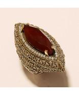 Natural Burmese Ruby Ring 925 Sterling Silver Two Tone Turkish Wedding J... - $25.22