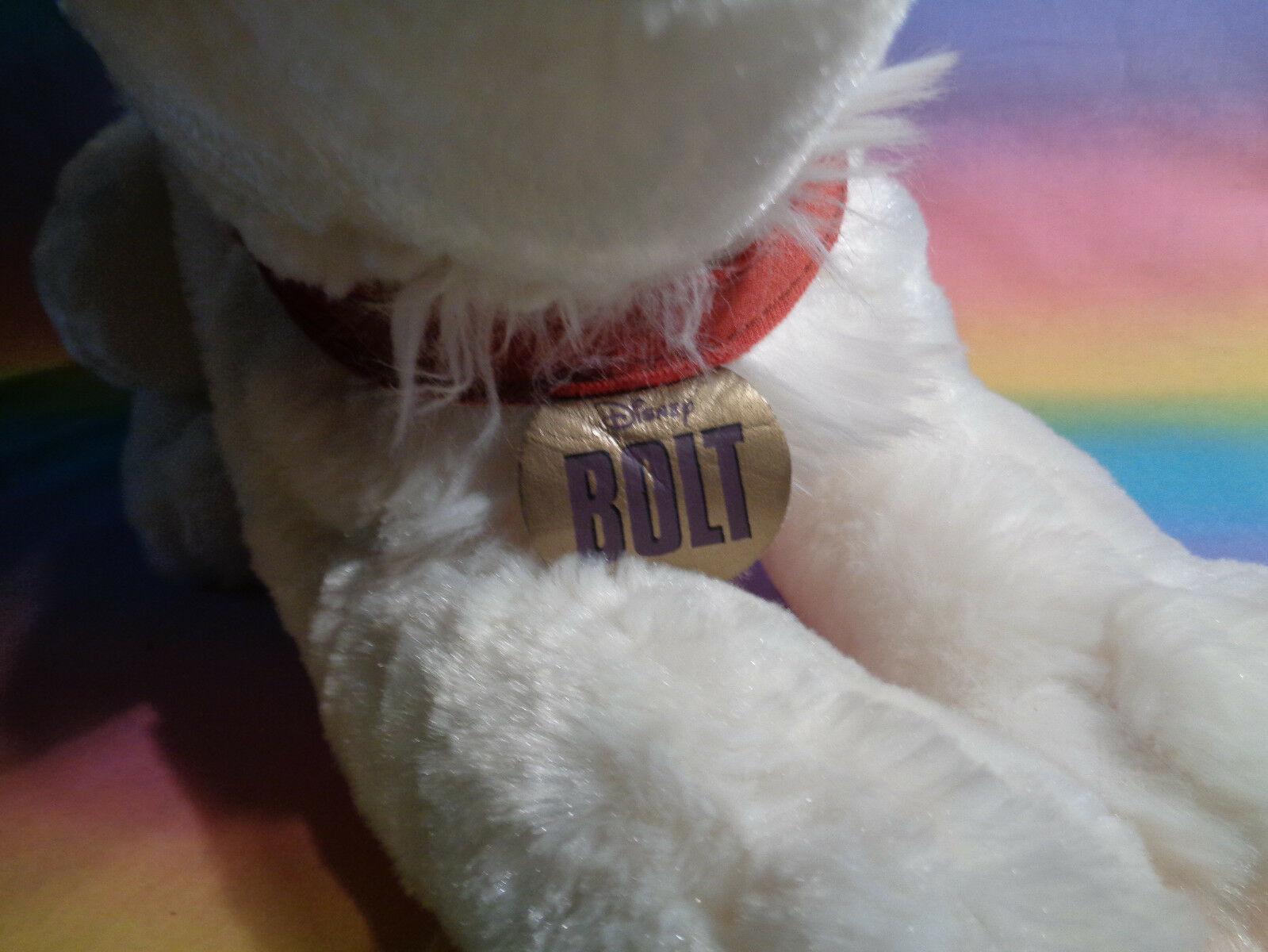 "Disney Store Bolt Lying Down Puppy Dog Plush Soft Animal w/ Collar 15"""