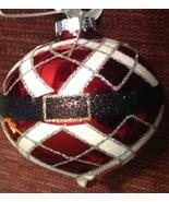 Christmas Ornament Ball Red Glass Glittery Ribbons Santa Belt Finial New - $11.88
