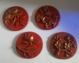 Miller Studios Plasterware 1966 Plaque Flower Set 4 Winter Spring Summer... - $59.39