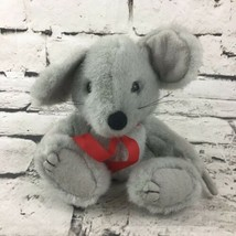 Vintage Gray Mouse Plush Gravel Stuffed Animal Red Ribbon Soft Toy  - $14.84