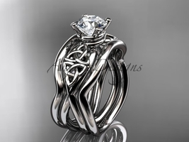 Celtic engagement ring set, 14kt white celtic trinity knot engagement ring, doub - $1,335.00